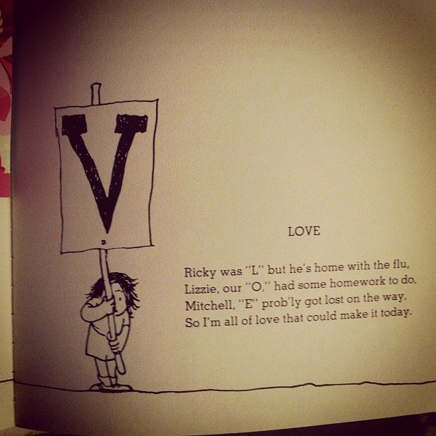 The Shel Silverstein poem my oldest marked with his Vanessa bookmark at bedtime a few weeks back.