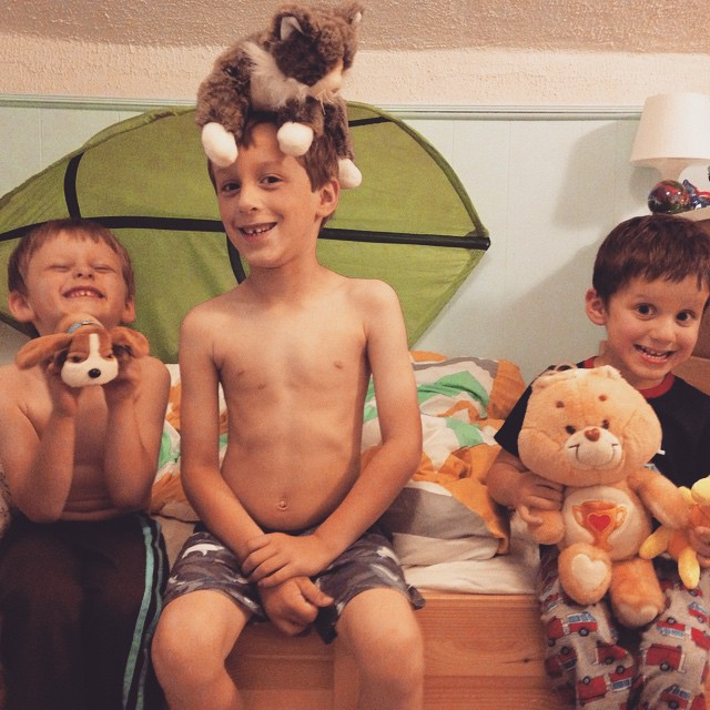 "June 2014: ""The boys each picked one of Vanessa's buddies (some from her childhood days) to be their new super-special friend: Please meet Veno the (pound) puppy, Vaness the kitty, and Mr. V the (care) bear. #lovely #grief #sadhappy #bittersweet"""