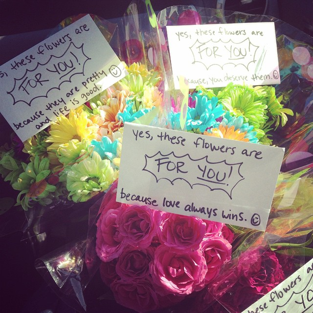 "October 15, 2015 (Vanessa's birthday): ""Getting ready to get our flowers for strangers on. 💗"""