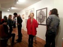 Talking near Kate Lewis's pieces