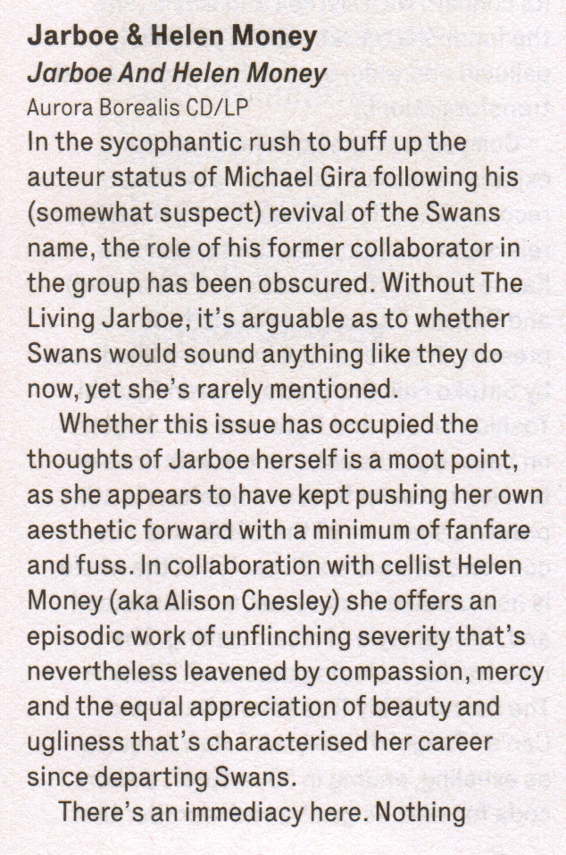 Jarboe & Helen Money_The Wire_review pt1_March 2015 Issue