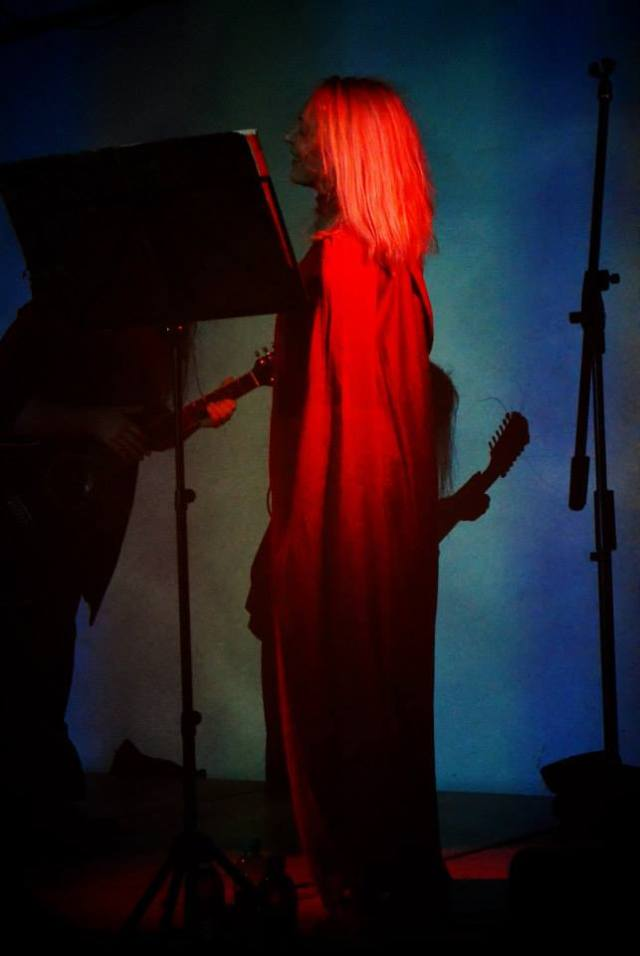 red silk dress by Ovate for 2013 tour