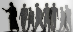 Silhouette picture of Jesus and varied men and women