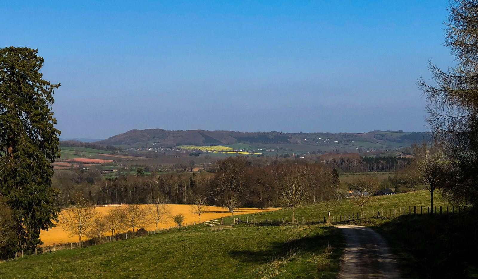 View of fields and hills beyond, NW Herefordshire