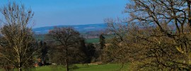 Early spring view of fields and Clee Hills beyond, NW Herefordshire