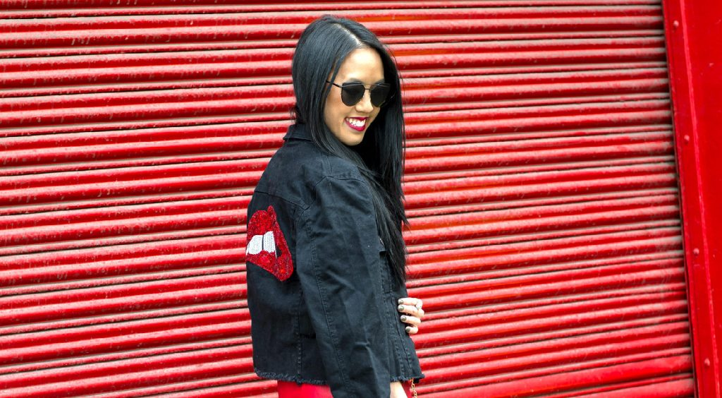Red Lips Denim Jacket with Shein