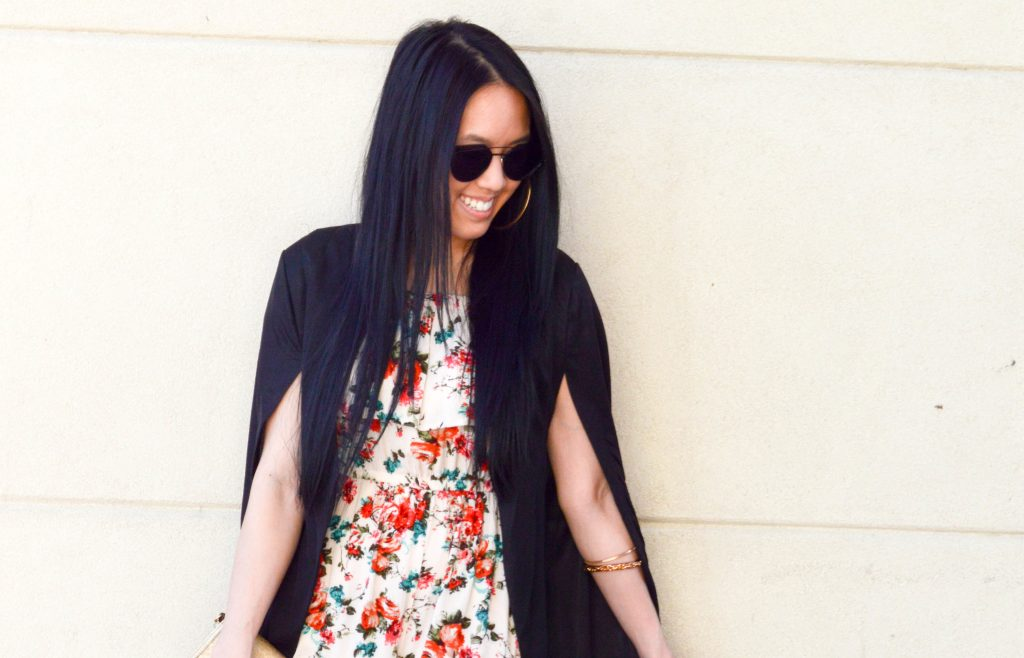 Floral Jumpsuit + Cape Blazer Combo with Rosegal