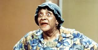 Moms Mabley -- teeth out, costume on
