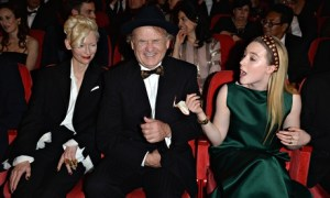 Bill Murray having the best time at Berlin flanked by co-stars Tilda Swinton and Soairse Ronan (courtesy of The Guardian)