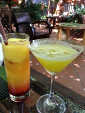 Sunrise lassi on the left and no idea what on the right at La Tonelle in Hoi an, Vietnam