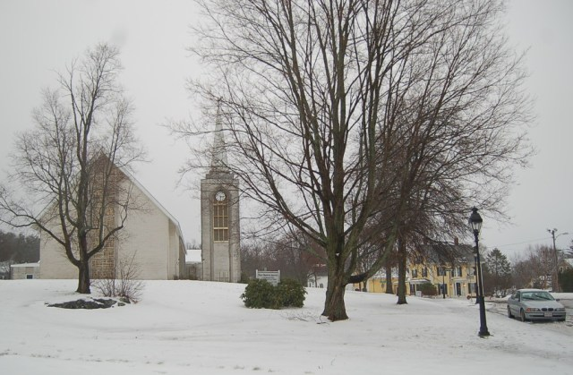 First snow at First Church in Ipswich
