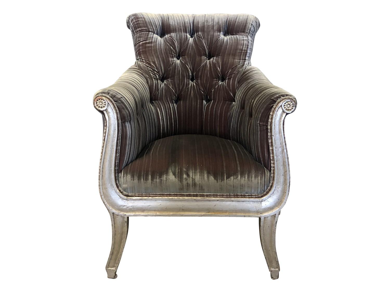 velvet tufted armchair