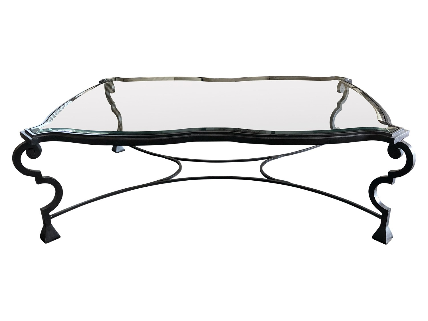 kreiss wrought iron and glass coffee table