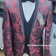 Black with Wine Red Print Men's Wedding Suits Slim Fit