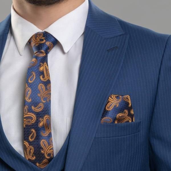 Donatella Blue 3 piece Suit Slim Fit Striped