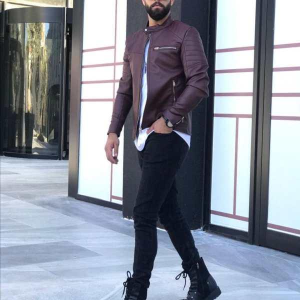 Maroon Men leather Jacket Kenya