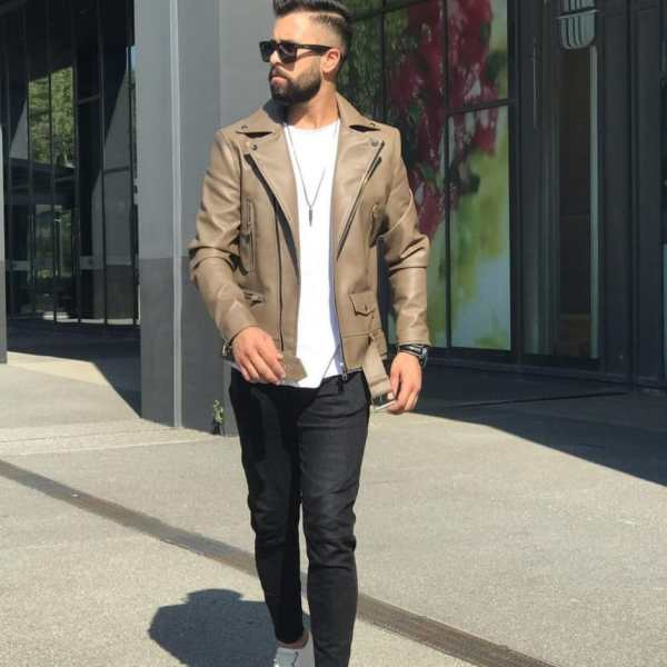 Biege Genuine Leather Jacket For Men