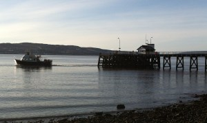 Calm waters: The Island Princess leaving Kilcreggan pier.