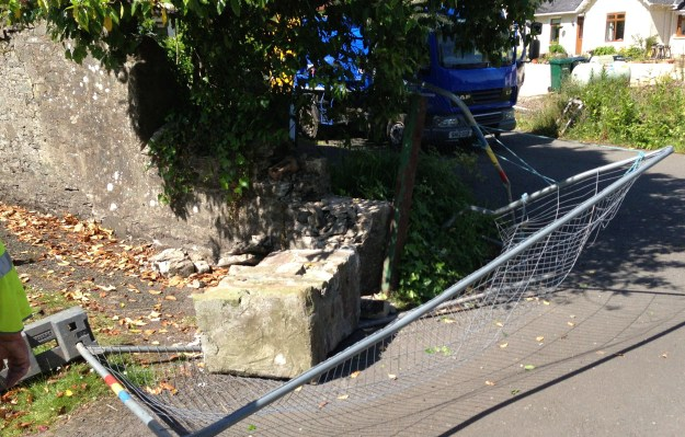 Levelled: The gateposts at Rosneath's cemetery were hit three times by council vehicles, residents say.