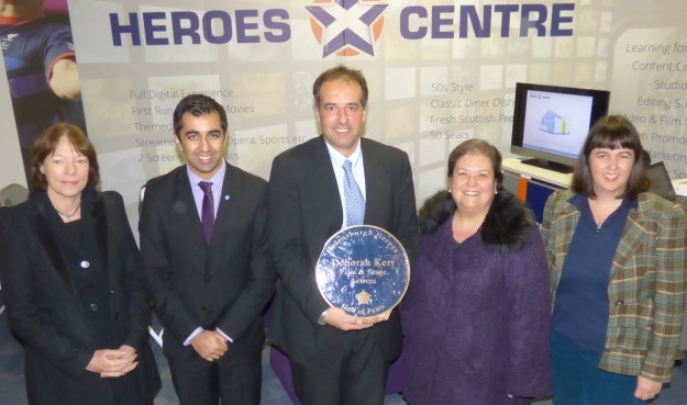 Pictured from left to right during Monday's visit are Dr Morag Ferguson of Glasgow Caledonian University, Minister Humza Yousaf, Phil Worms, MSP Jackie Baillie and Andrea Wise of Organic Architects.