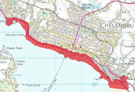 SEPA say the parts of Helensburgh highlighted in red are at risk of flooding tonight.