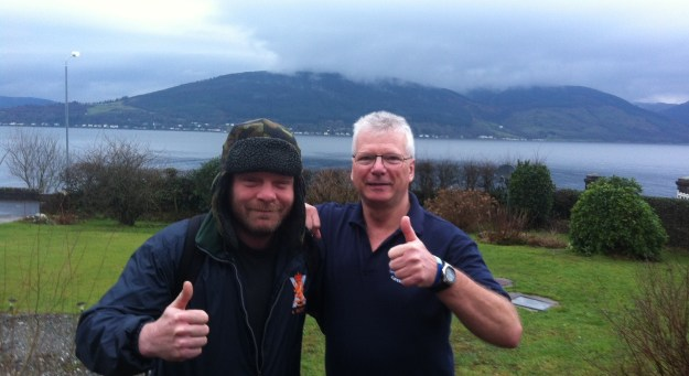 Christian with Duncan Farquhar on Saturday morning before setting off for Faslane