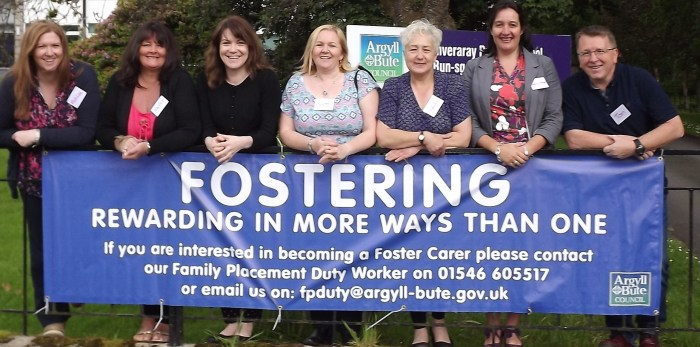 The council's fostering and adoption team (left to right) Ashlee Halliday (Dunoon), Janice Frank (Helensburgh), Louise Long (Kilmory), Karon McCreadie (Helensburgh), Adah Lambie (Dunoon), Lucy-Anne Bonete and Tom Niccolls (both Helensburgh) at a foster carer day in Inveraray earlier this month.