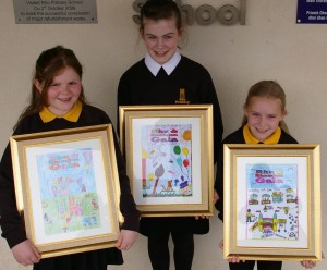 Winnign designs: poster competition runner-up Sydney Bungard, winner Rachael Hughes and runner-up Daisy Chown