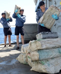 The warship's crew with seized cocaine