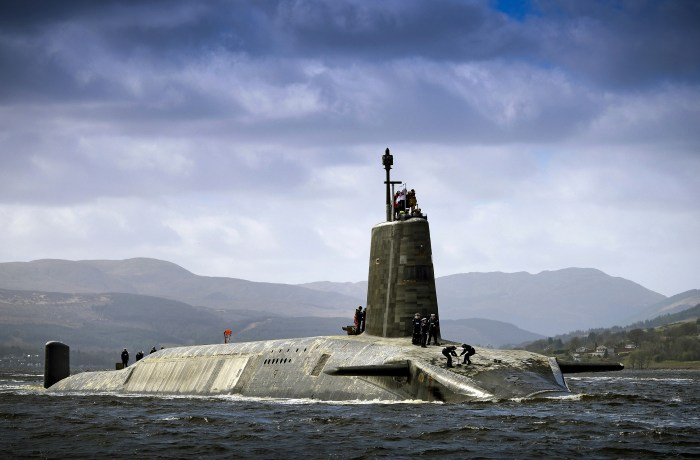 HMS Vigilant, which carries Trident nuclear missiles. Picture made available under the Open Government Licence.