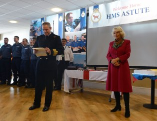 Cdr Jenkins welcomes Camilla to the 'super mess' at Faslane