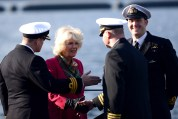 The Duchess of Rothesay meets senior naval officers on board, including Cdr Gareth Jenkins.