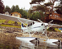 Seaplane on the loch outside the Restaurant with Rooms