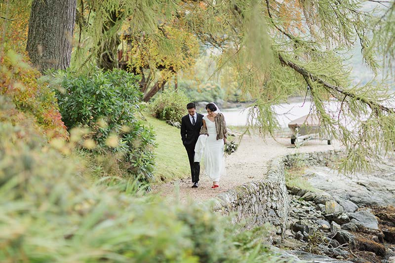 The happy couple on the shore of Loch Goil