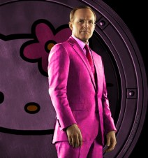 Agent Coulson of Shield in a hot pink suit