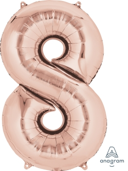 rose gold number 8 balloons