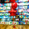 red star shaped foil balloon