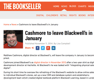 Leaving Blackwell's Bookseller Article Grab