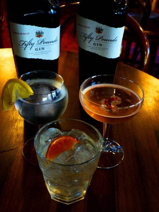 Gin cocktails created with Fifty Pounds gin, marking the anniversary of The gin act, September 29th 1736