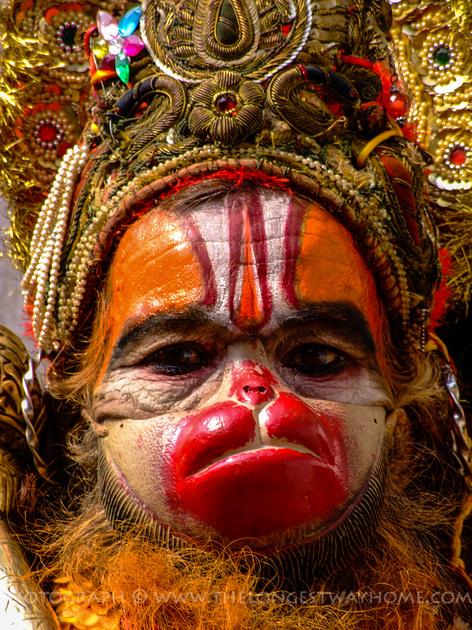Face of the Hanuman Sadhu in Nepal