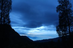 Sky before sunrise at over looking hills near Bromo
