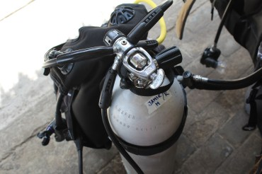 Jamie's oxygen tank for Scuba diving on Gili Trawangan