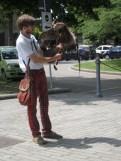 A boy with a pet hawk