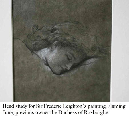 Pencil and chalk drawing of a woman's head: the central study for Flaming June - lost for more than a century.