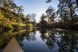 Canoeing on private river frontage at The Long Weekend Retreat, Millstream