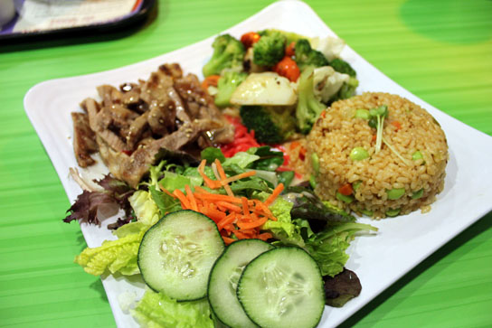The Big Platter has the best of everything -- meat, rice, salad, and veggies.
