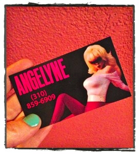 Angelyne's business card and contact number. (Photo by Nikki Kreuzer)