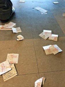 The last of the betting tickets litter the floor at Hollywood Park (photo by Nikki Kreuzer)
