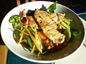 micro greens, avocado, lime and more make up a delicious Regal Springs Tilapia Salad at Rubio's