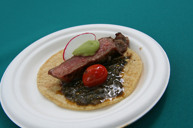 Mexicali Taco and Co's Taco Campestre: Black Angus New York steak grilled over mesquite, salsa negra de chiltepin, and avocados from Mexico.